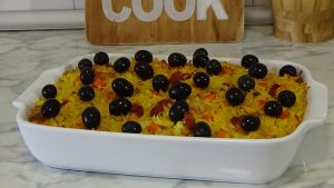 chicken, rice, arroz, chorizo, olives, basic flavours